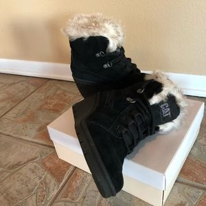 Shoes - CAT brand black wedge boots with fur lining
